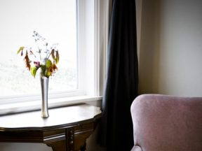 vase of flowers next to window and pink chair