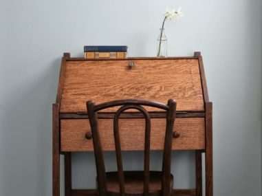 closed brown desk
