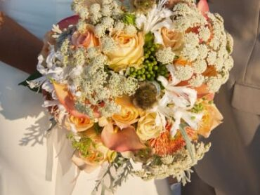 floral bouquet with light orange flowers