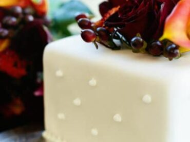 wedding cake with floral topping